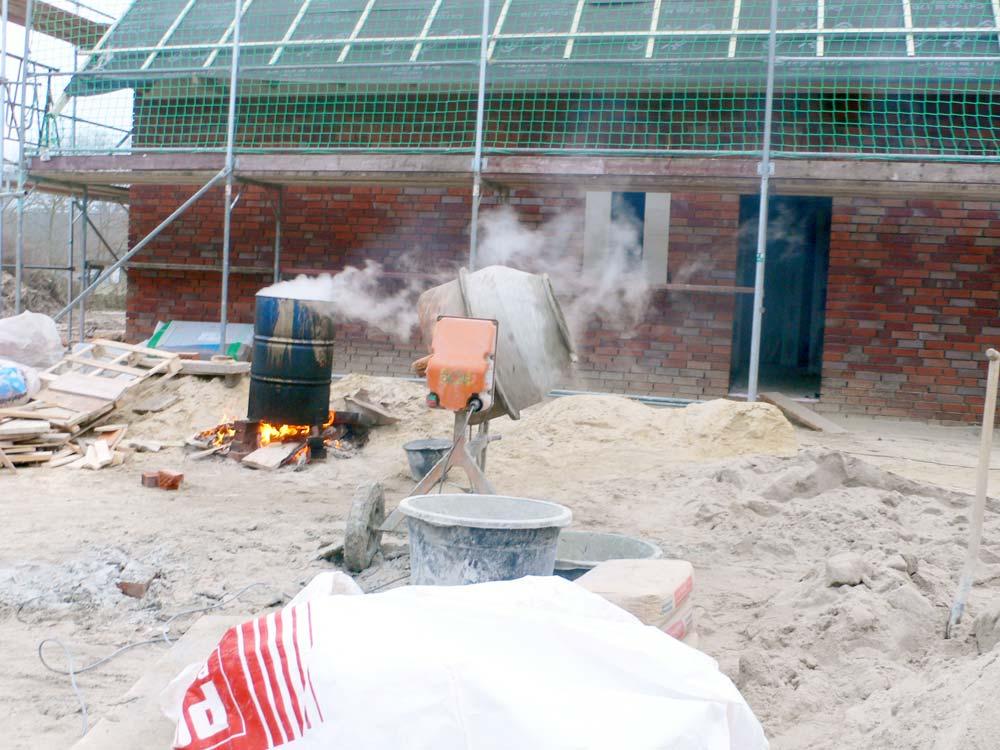 Verarbeitung Zement bei Kälte