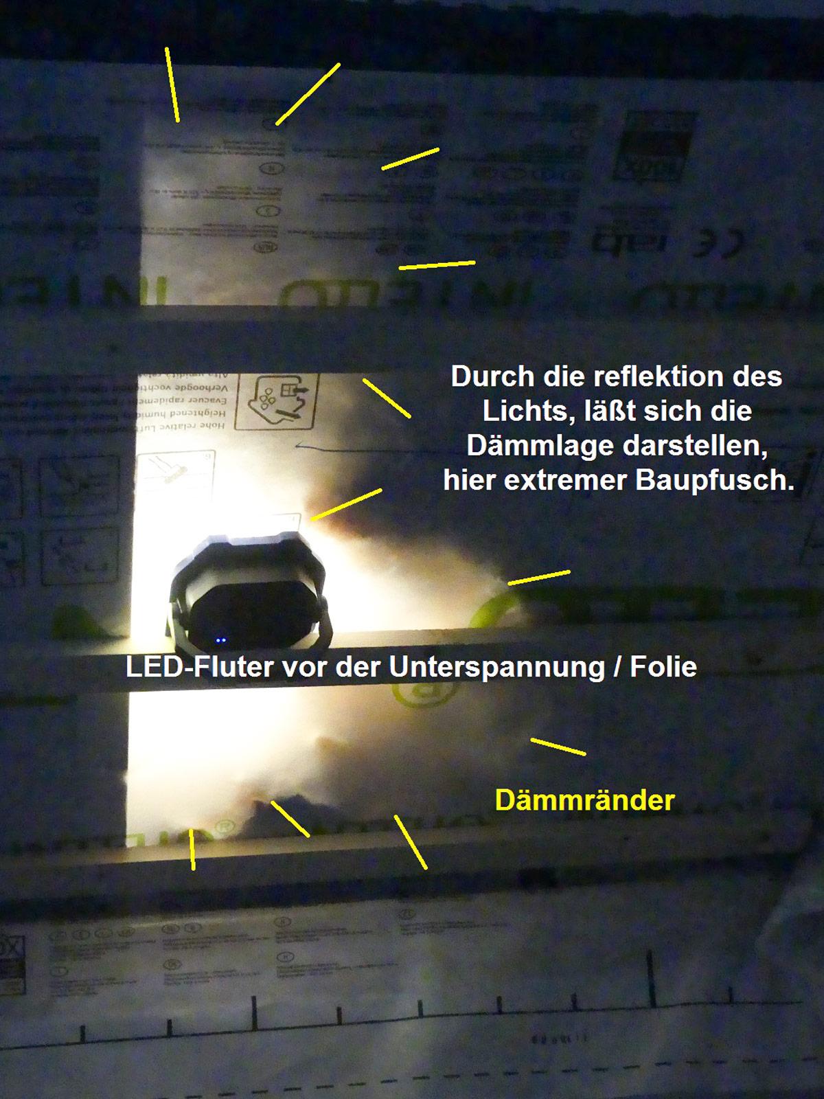 Vollsparrendaemmung-Pfusch-LED-Fluter